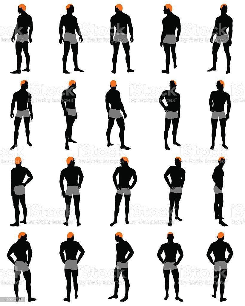 Set of men silhouette vector art illustration