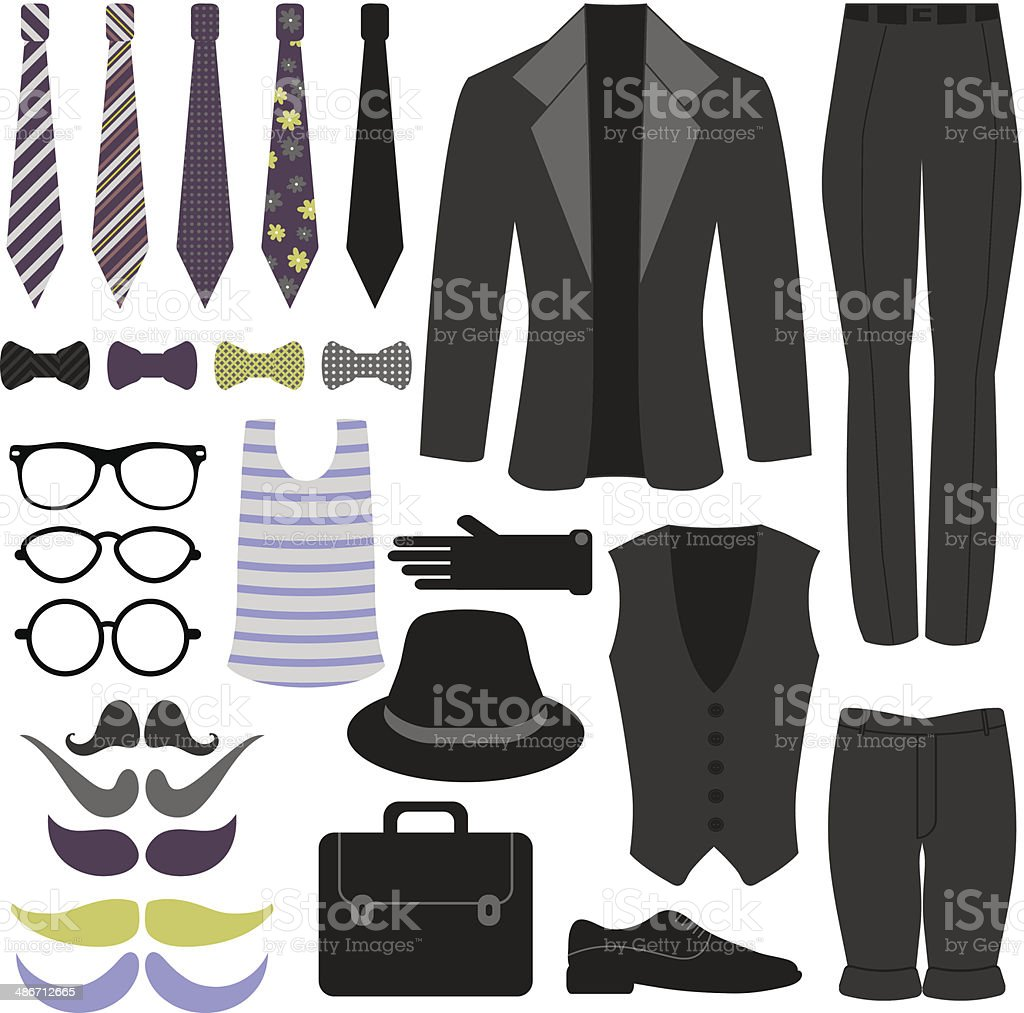 Set of men's clothing and accessories vector art illustration