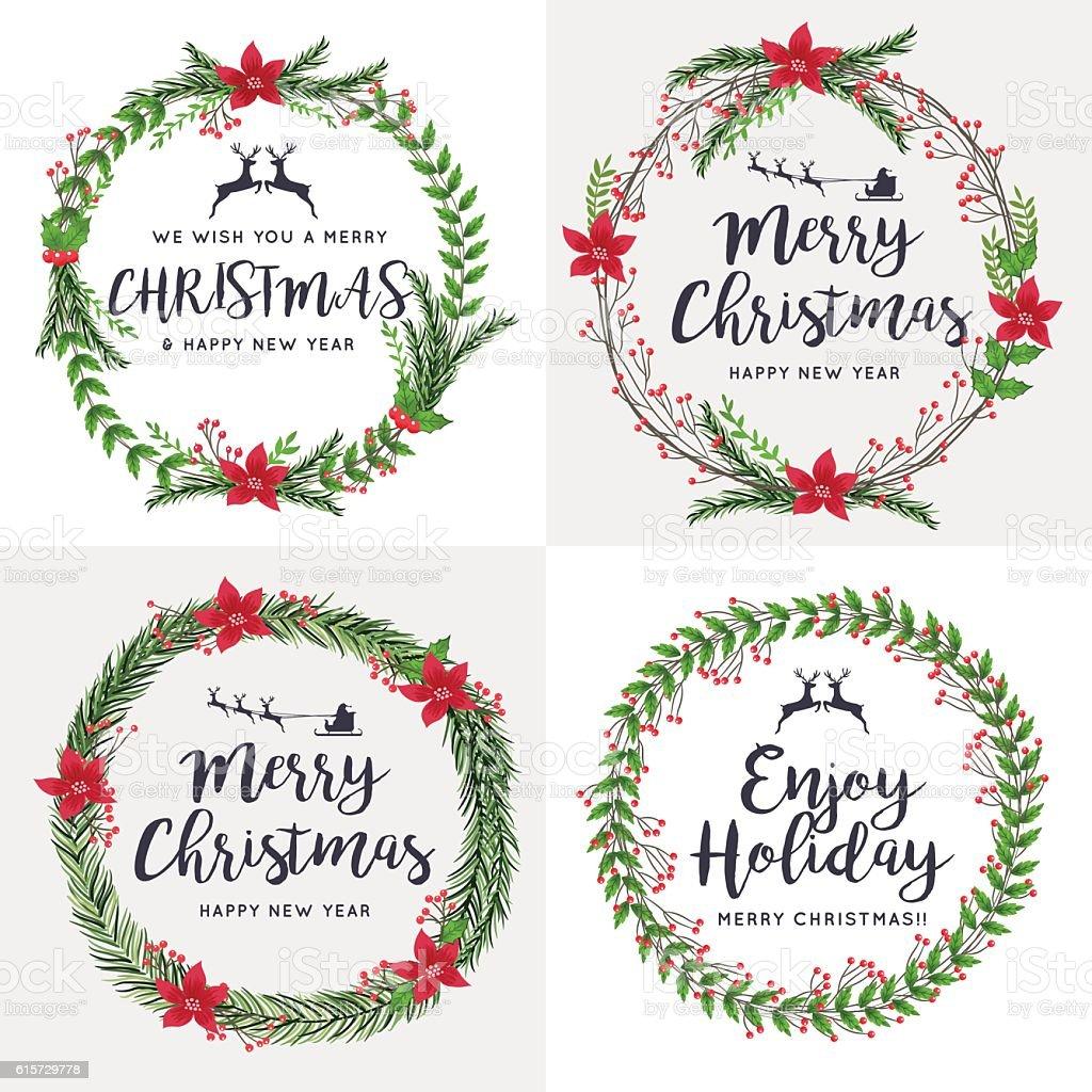Set of Merry Christmas Wreath Flowers. Ornaments Decorative. vector art illustration