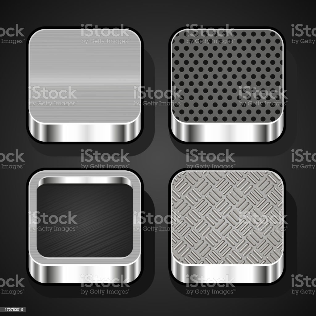 Set of metal ios icons royalty-free stock vector art