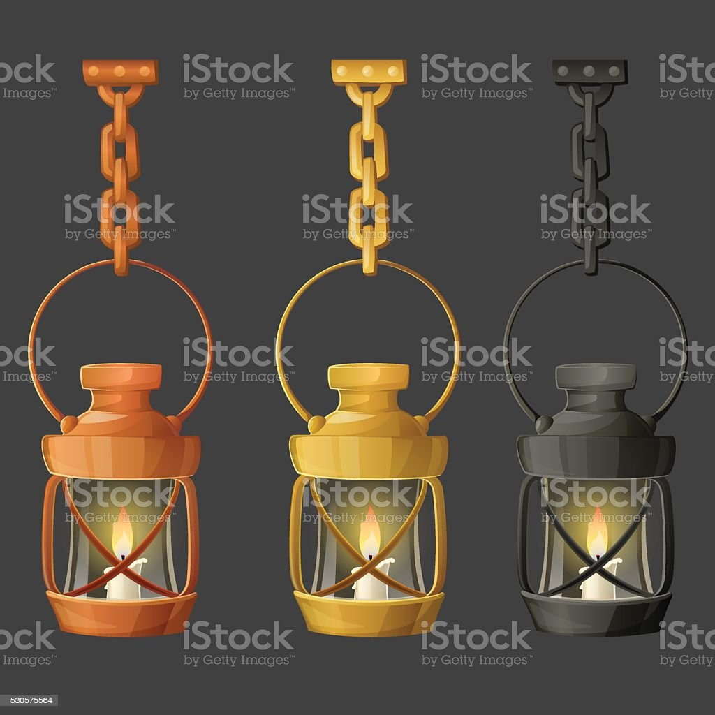 Set of metal lamps or lanterns holding on chain. vector art illustration