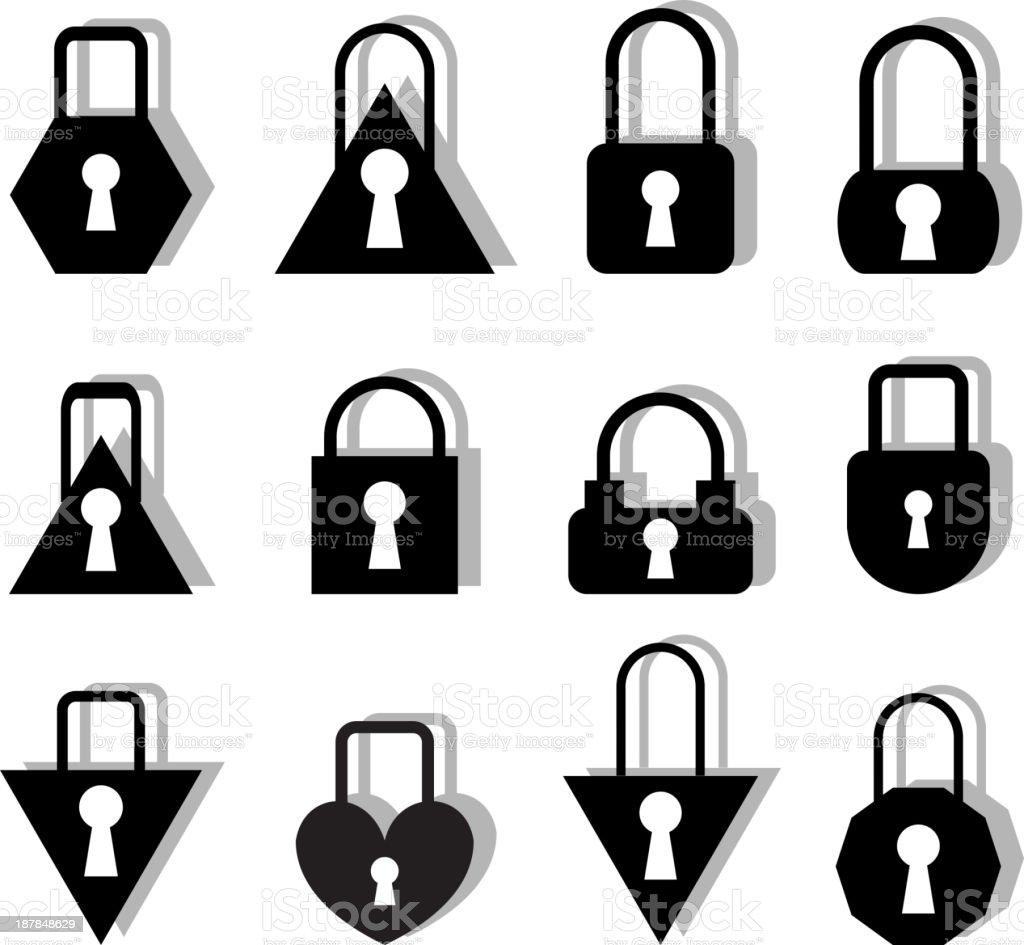 Set of metal locks royalty-free stock vector art