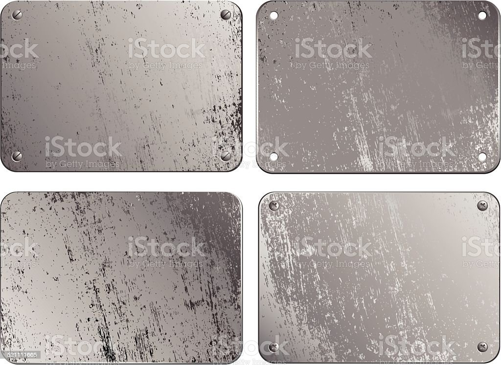 Set of metal plates vector art illustration