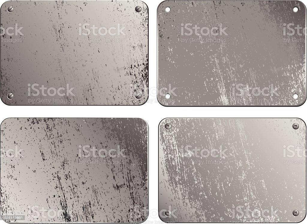 Set of metal plates vector art illustration