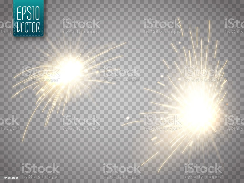 Set of metal welding with sparks or sparklers isolated vector art illustration