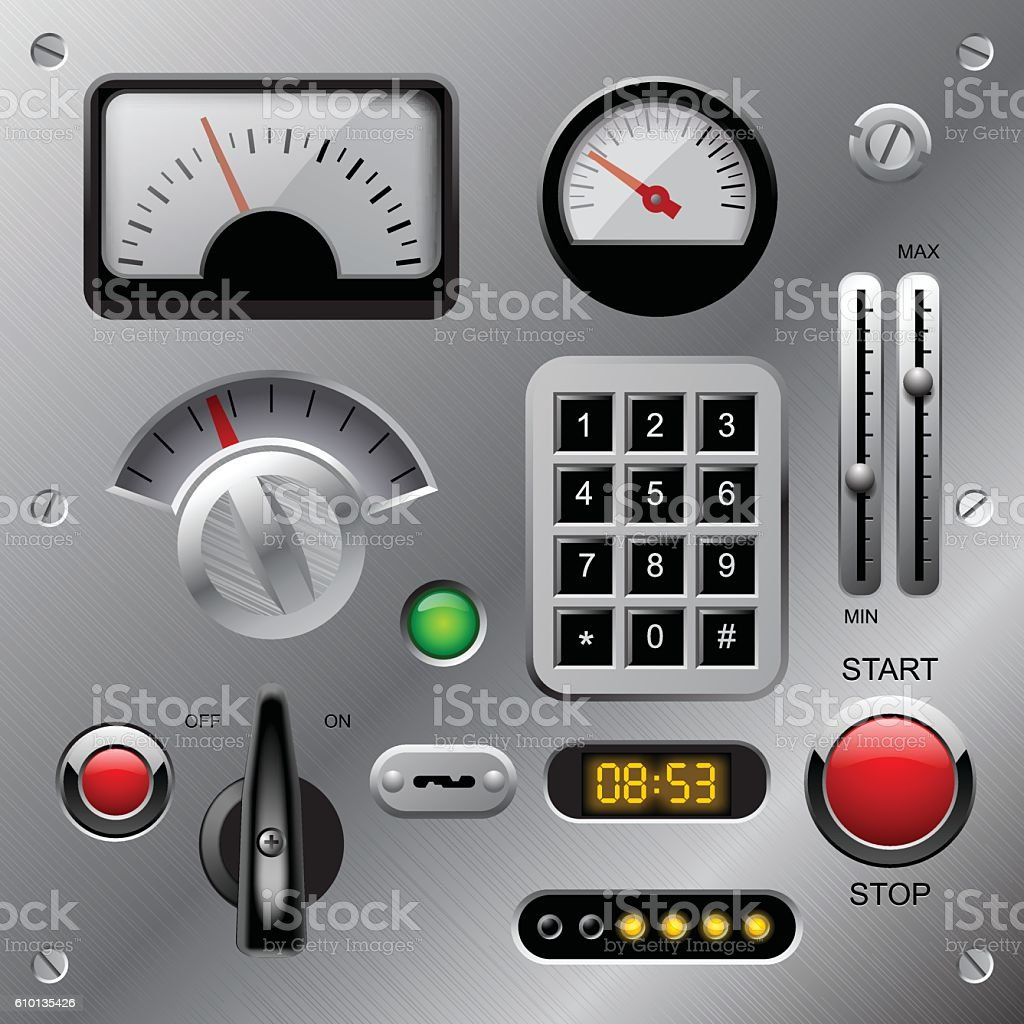 Set of meters, buttons and other machinery parts vector art illustration