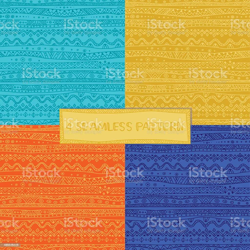 Set of mexican pattern vector art illustration