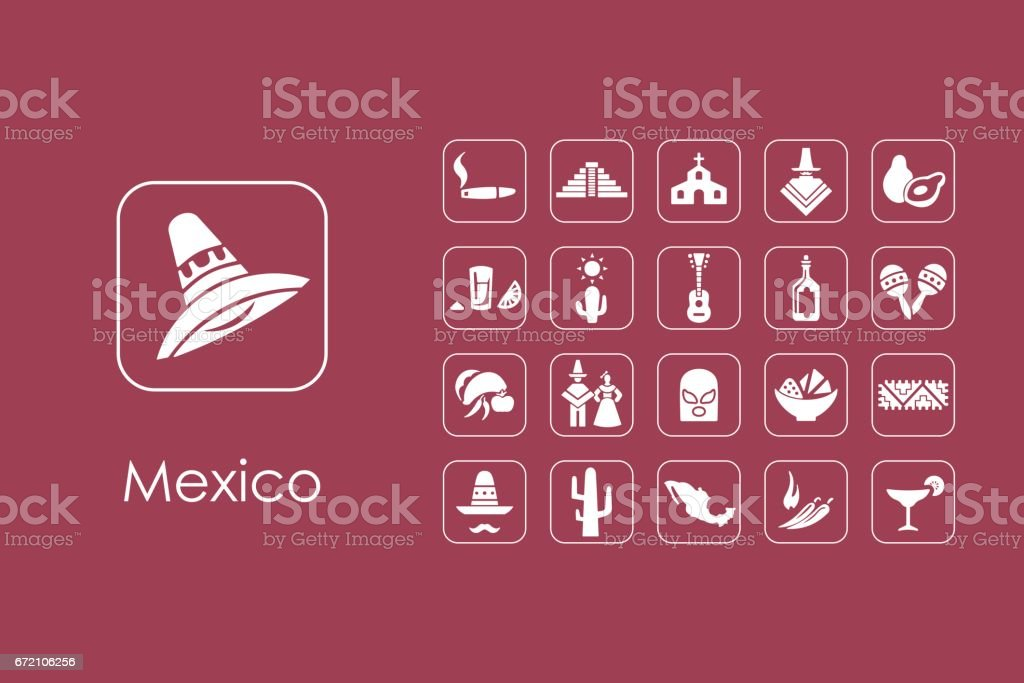Set of Mexico simple icons vector art illustration