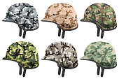 Set of Military modern camouflage helmets. Side view.
