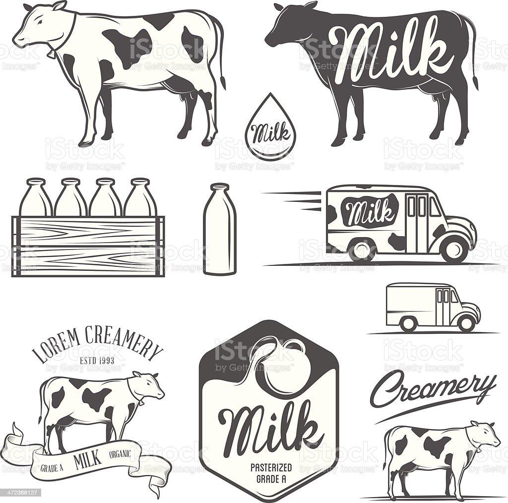 Set of milk and creamery design elements vector art illustration