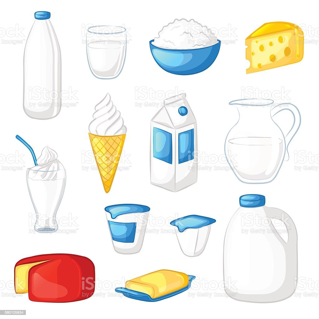 Set of milk and dairy products. vector art illustration