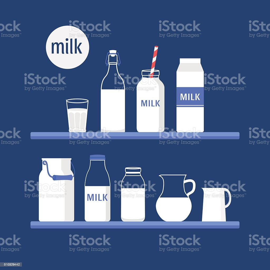 Set of milk vector art illustration