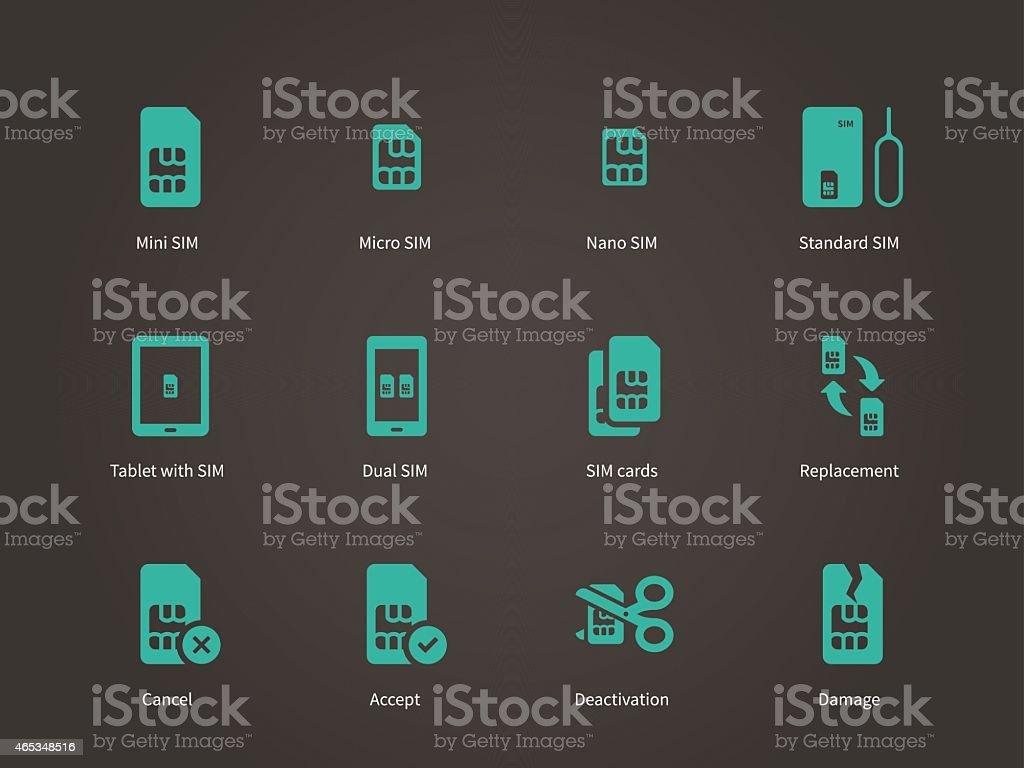 Set of mini, micro and nano simcard icons set vector art illustration