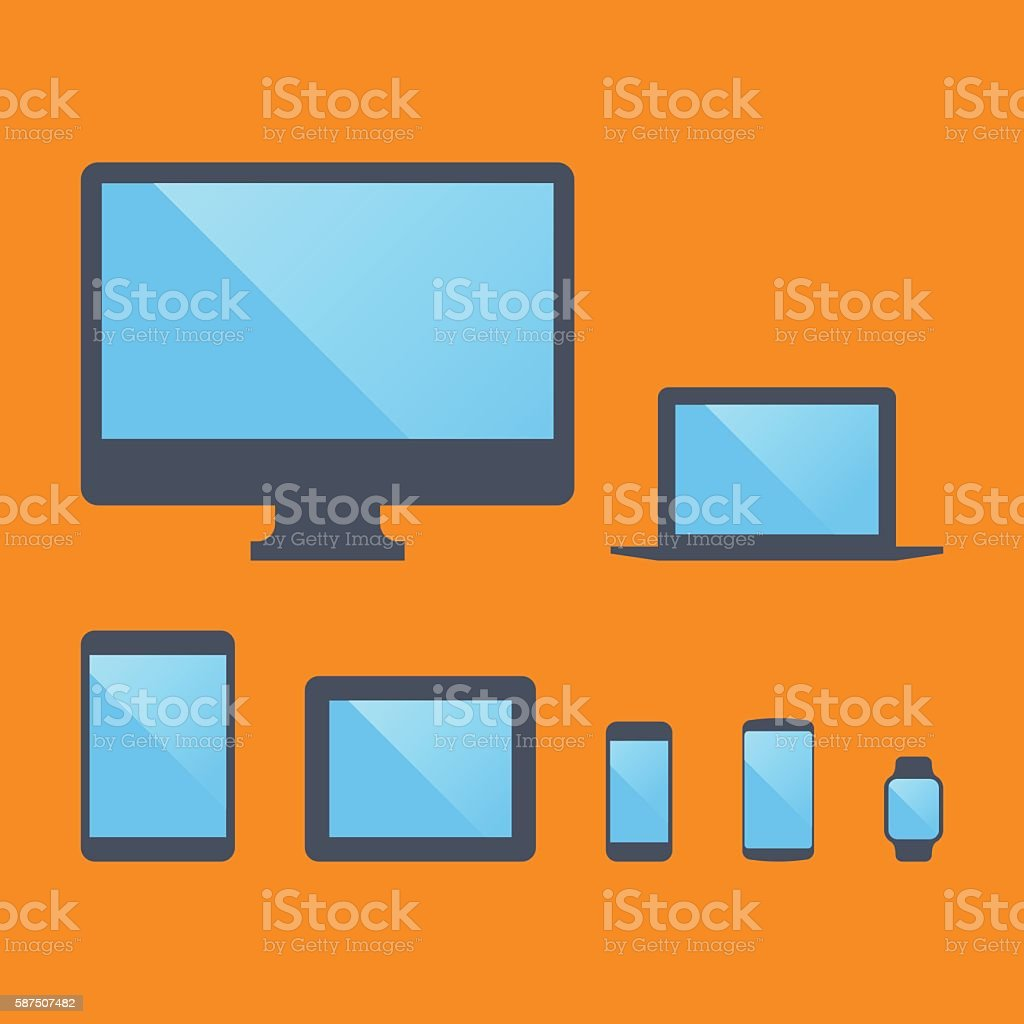 Set of mobile and desktop electronic devices  Vector illustratio vector art illustration