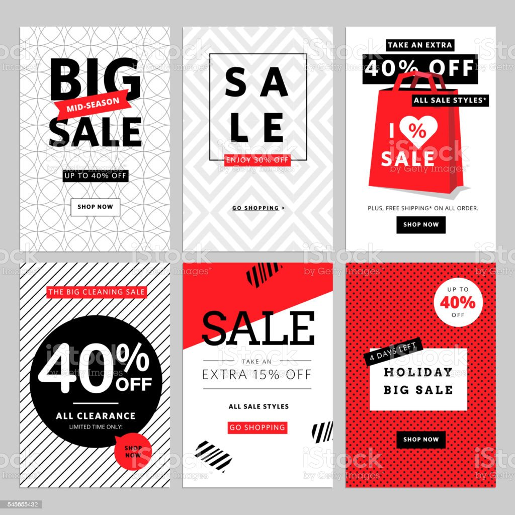Set of mobile banners for online shopping vector art illustration