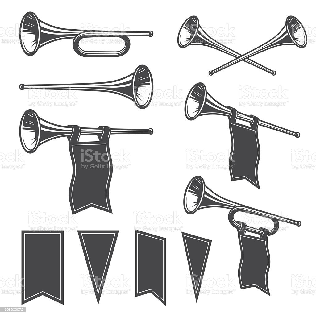 Set of mobochrome fanfare vector art illustration