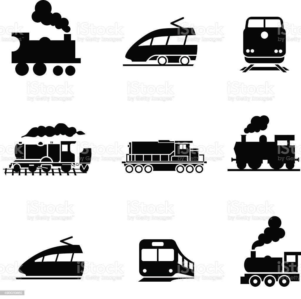 Set of modern and old train. Vector pictogram vector art illustration