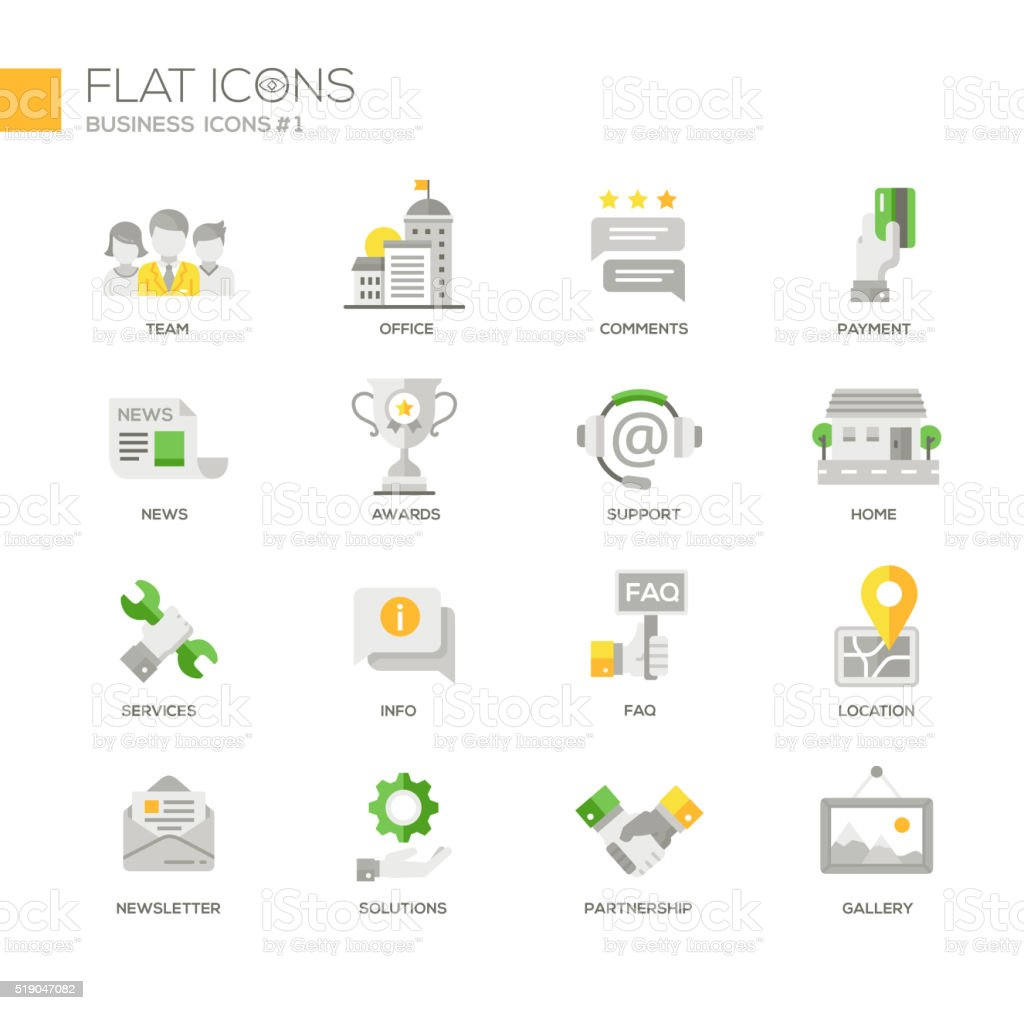 Set of modern business office flat design icons and pictograms vector art illustration