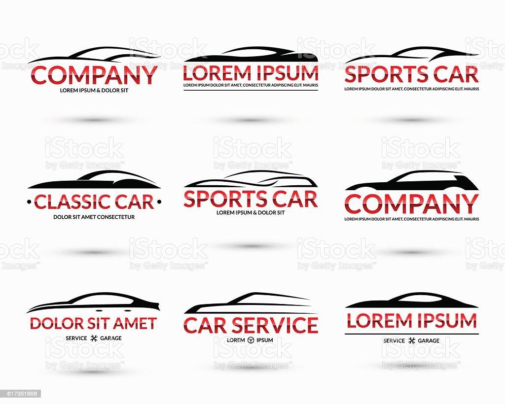 Set of modern car logo design templates. Vector illustration vector art illustration
