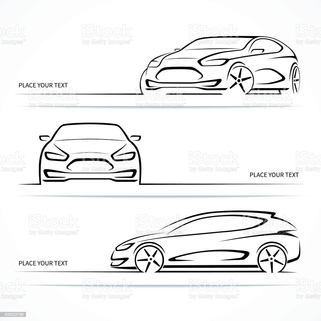 Set of modern car silhouettes. vector art illustration