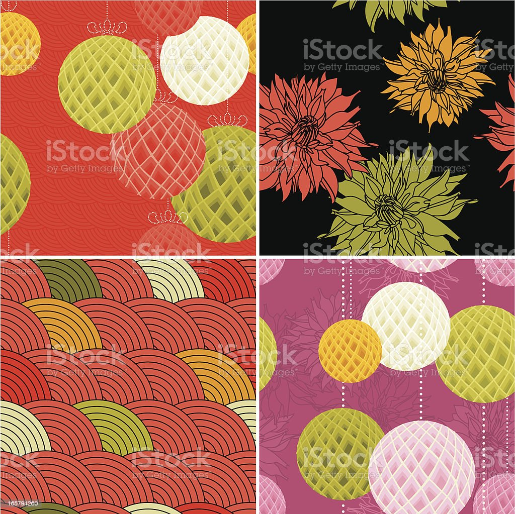 Set of Modern Chinese Patterns royalty-free stock vector art
