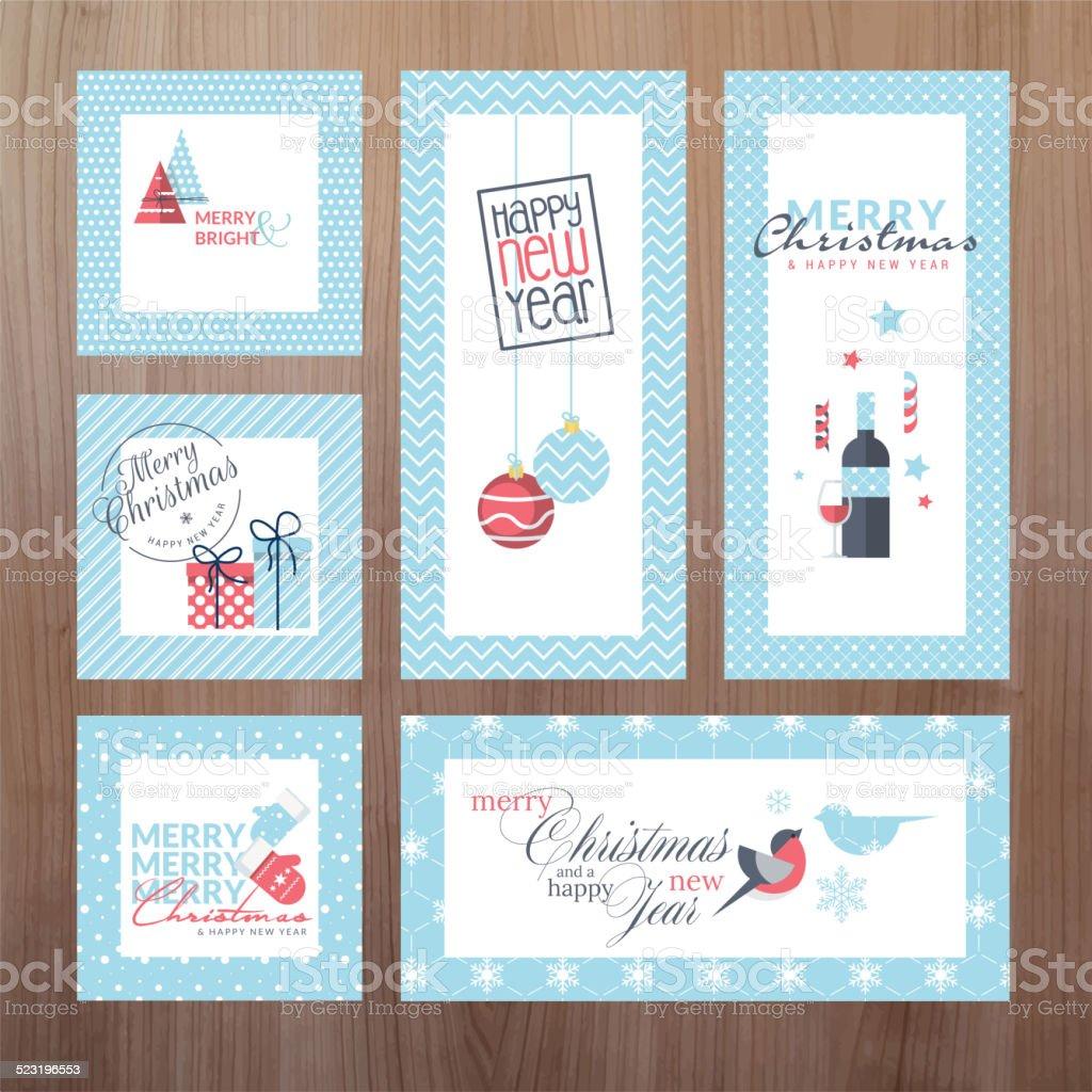 Conjunto de moderno de Navidad y Año Nuevo tarjetas de felicitación illustracion libre de derechos libre de derechos