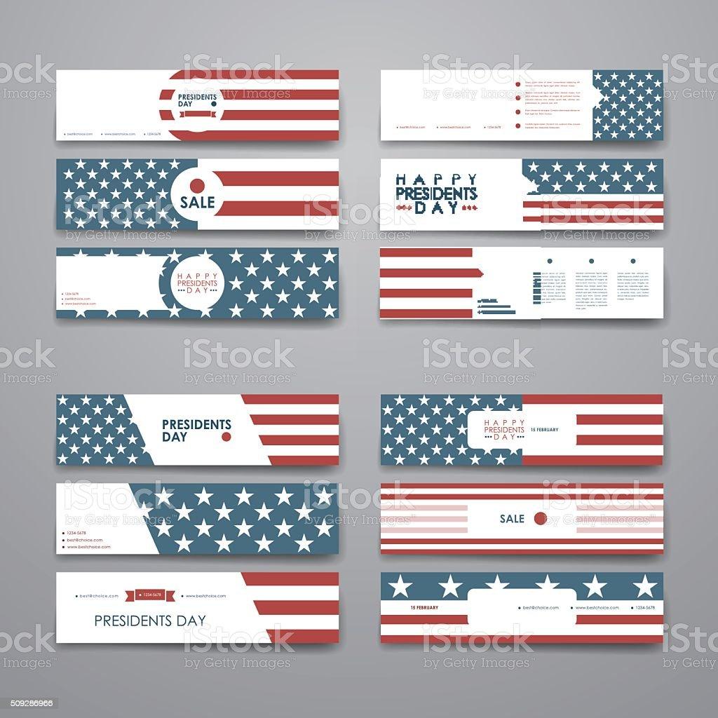 Set of modern design banner template in Presidents Day style vector art illustration