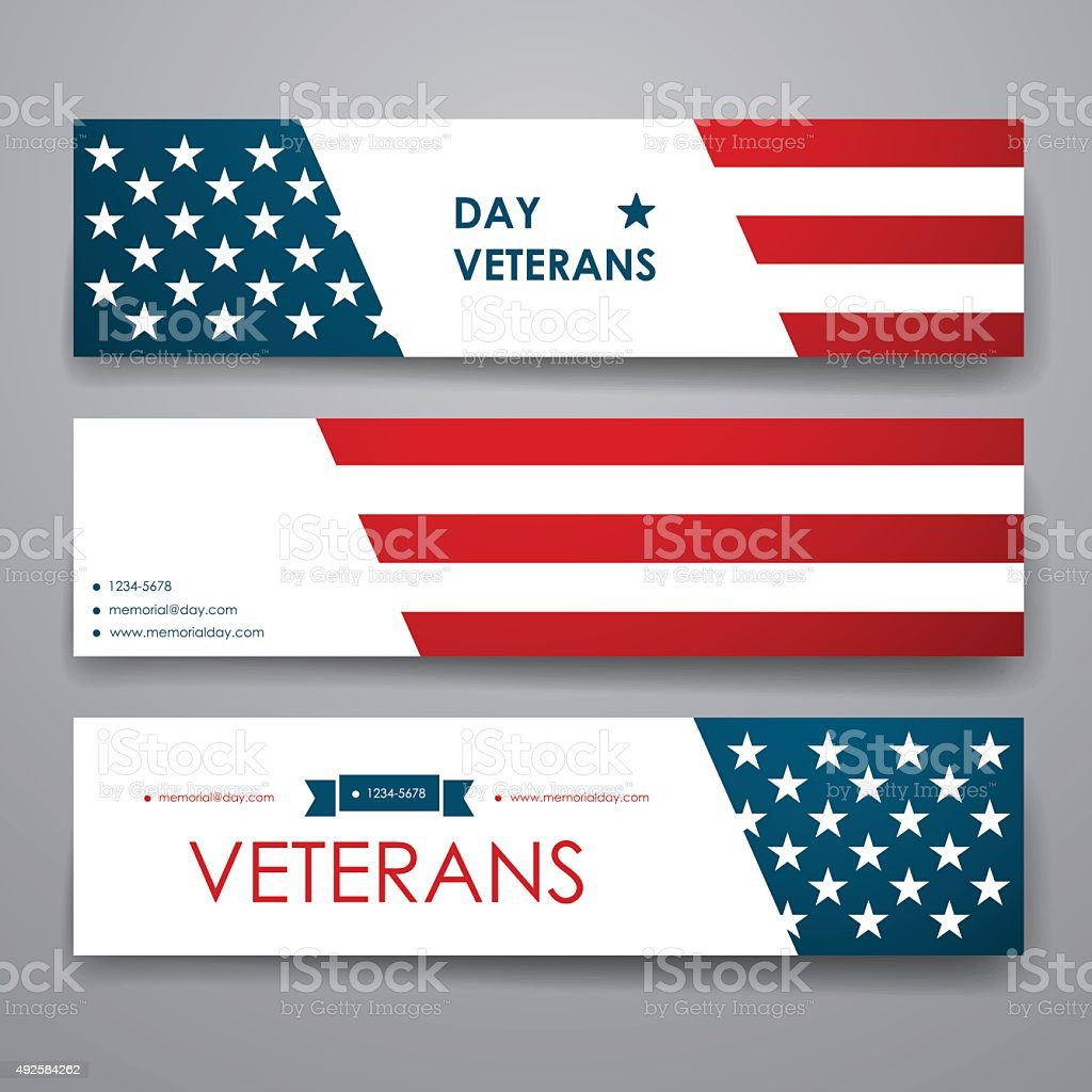 Set of modern design banner template in veterans day style vector art illustration
