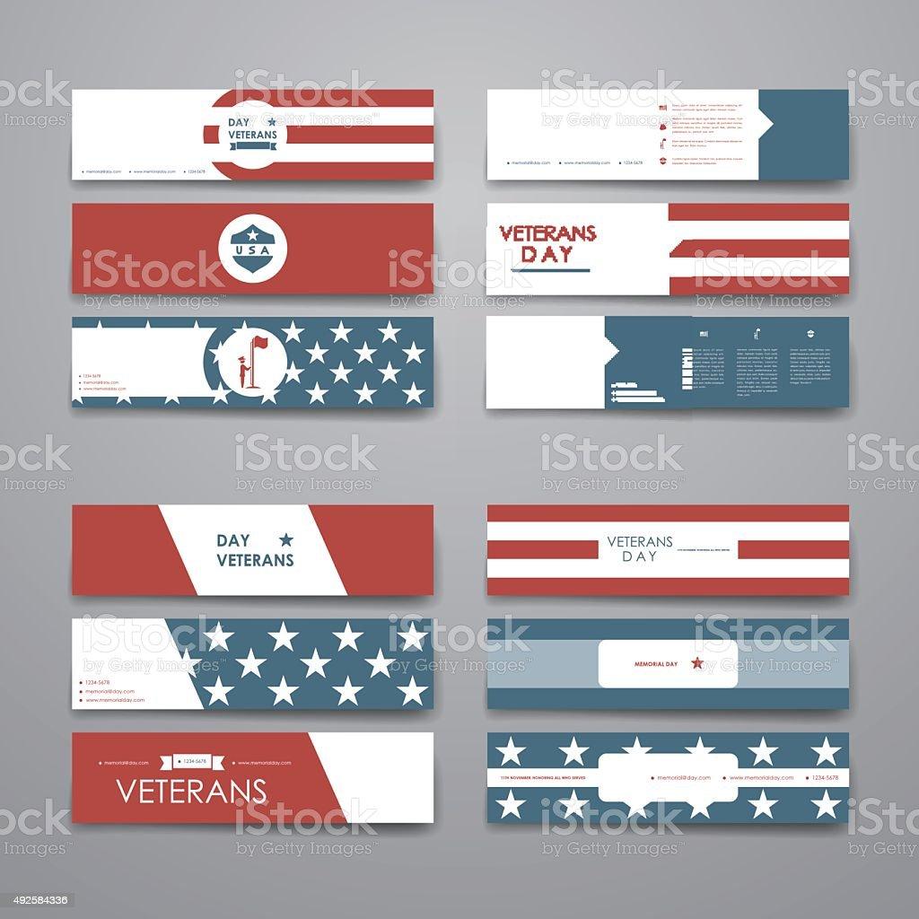 Set of modern design banner template in veterans day style vector art illustration