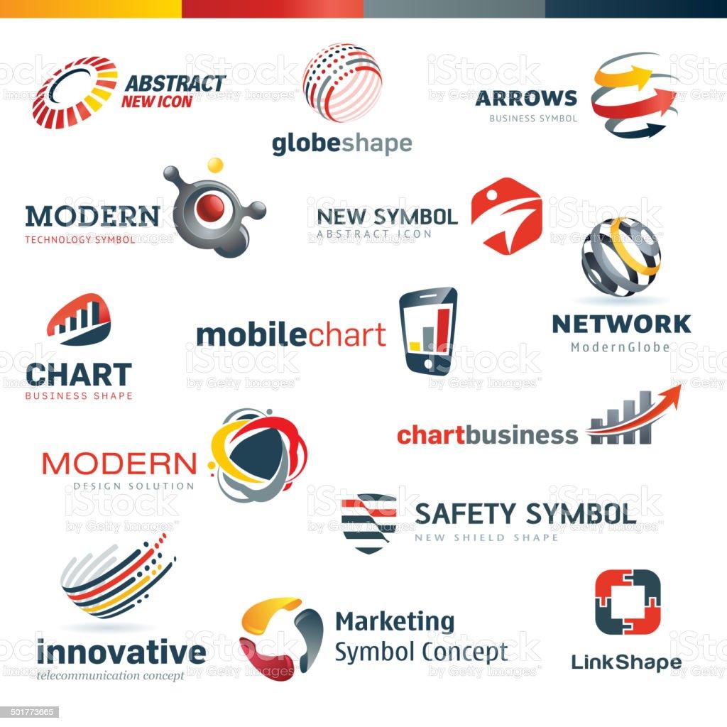Set of modern designed icons vector art illustration