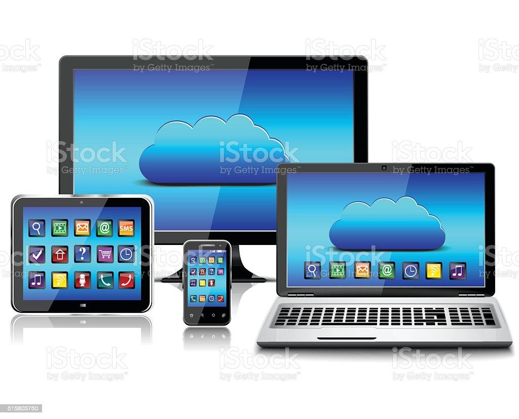 Set of Modern Digital devices. vector art illustration