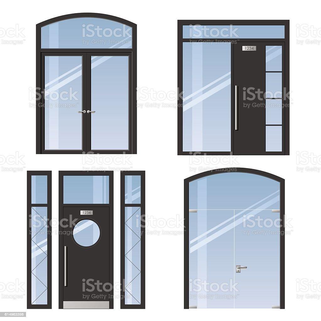 Set of modern doors vector art illustration