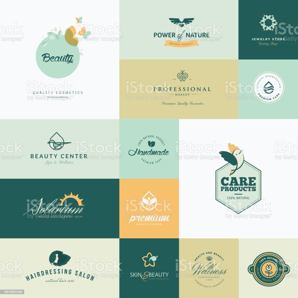Set of modern flat design beauty icons vector art illustration