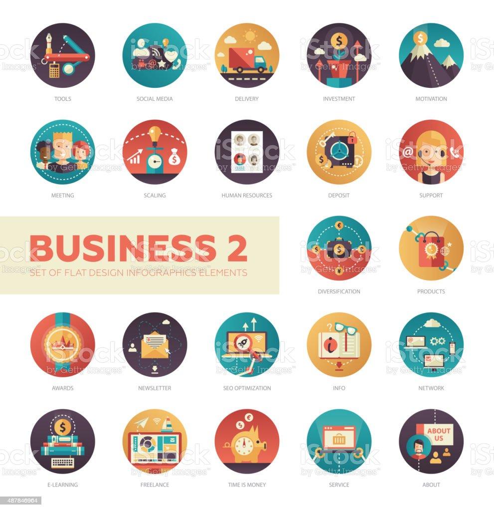 Set of modern flat design business infographics icons vector art illustration