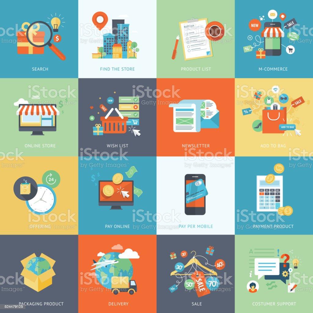 Conjunto de moderno diseño plano concepto iconos de compras en línea illustracion libre de derechos libre de derechos