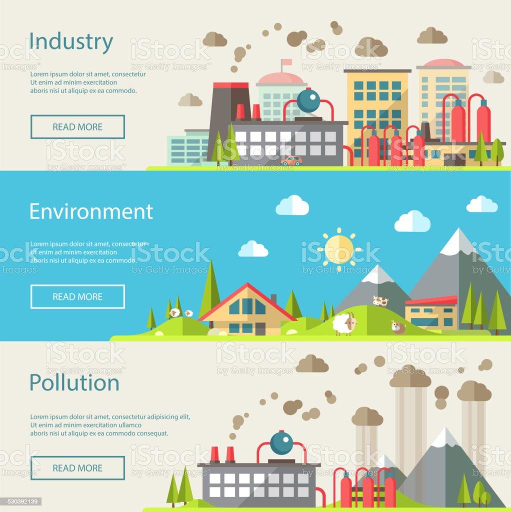 Set of modern flat design conceptual ecological illustrations vector art illustration