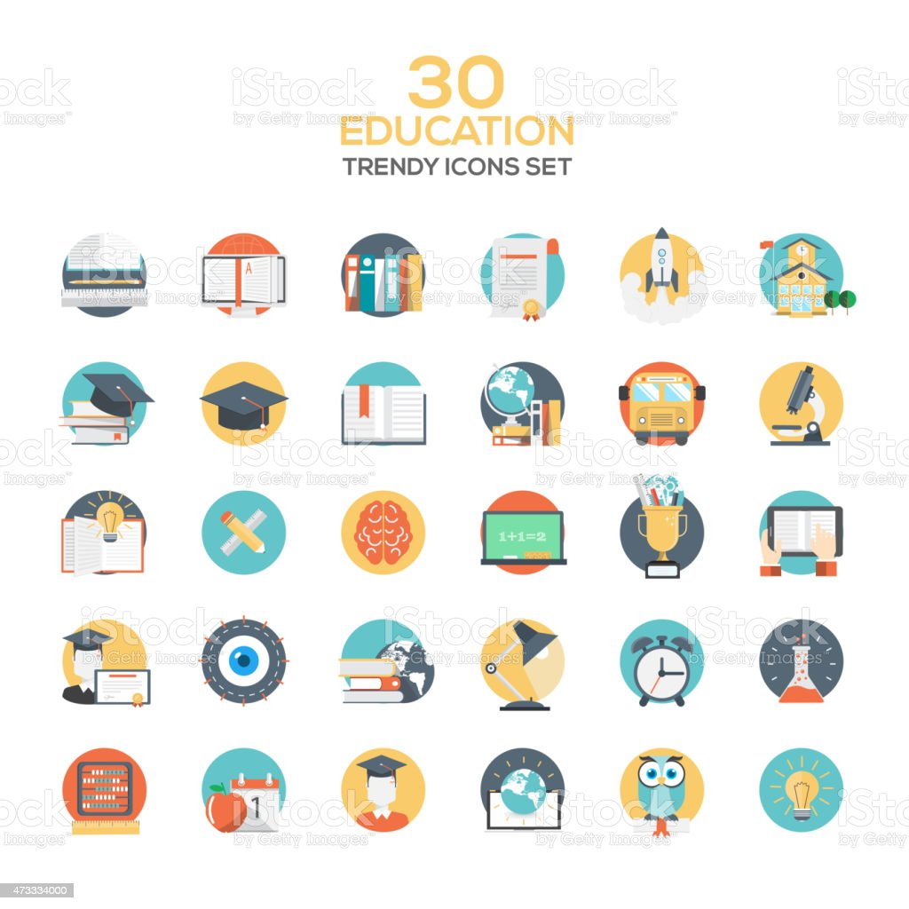Set of modern flat design Education icons vector art illustration