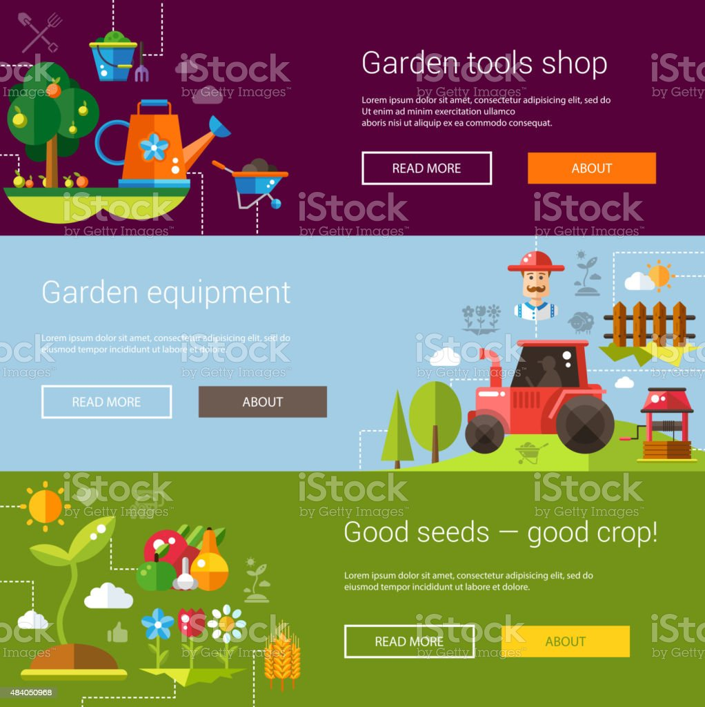 Set of modern flat design farm and agriculture icons, elements vector art illustration