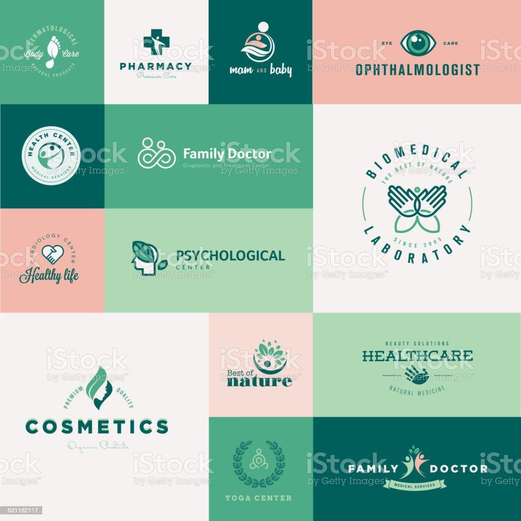 Set of modern flat design healthcare icons vector art illustration