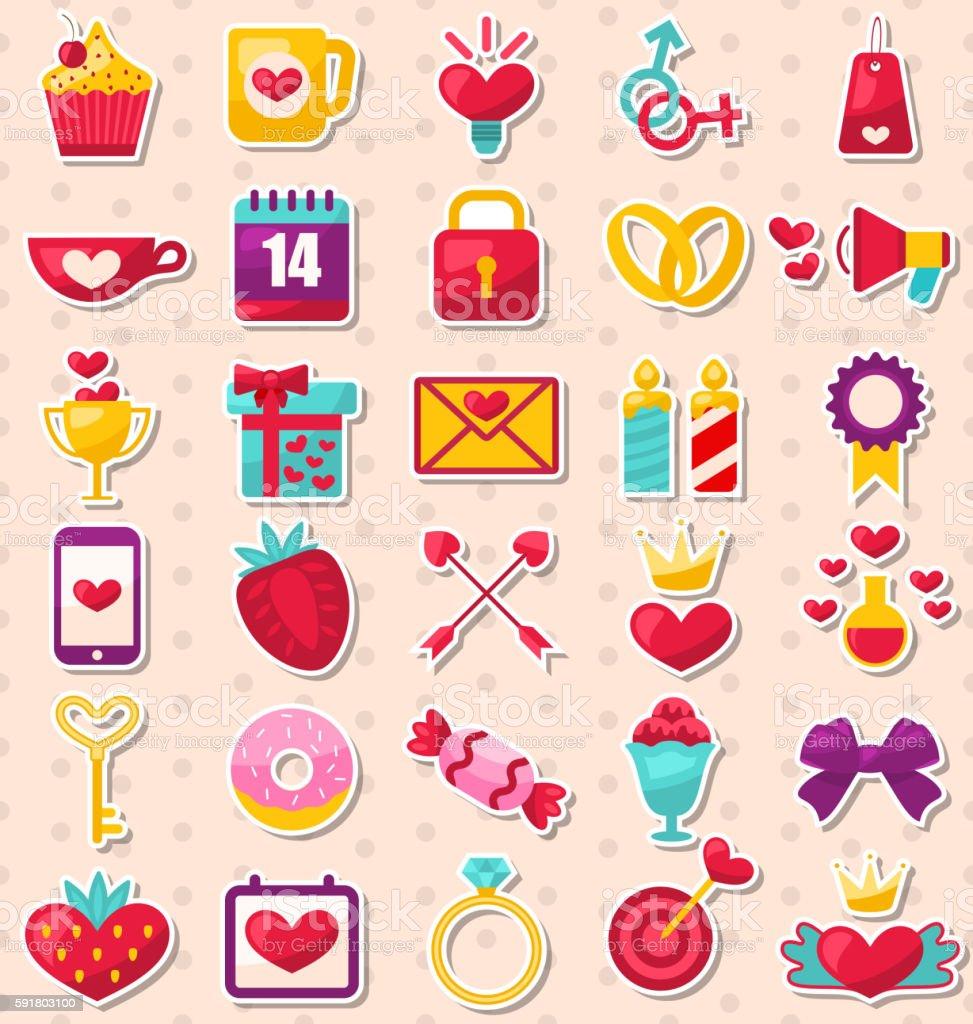 Set of Modern Flat Design Icons for Valentine's Day vector art illustration