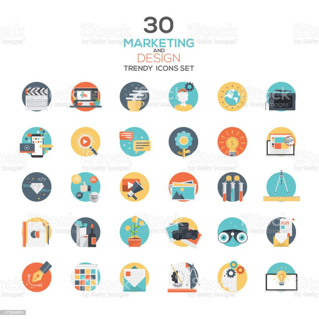 Set of modern flat design Marketing and Design icons vector art illustration