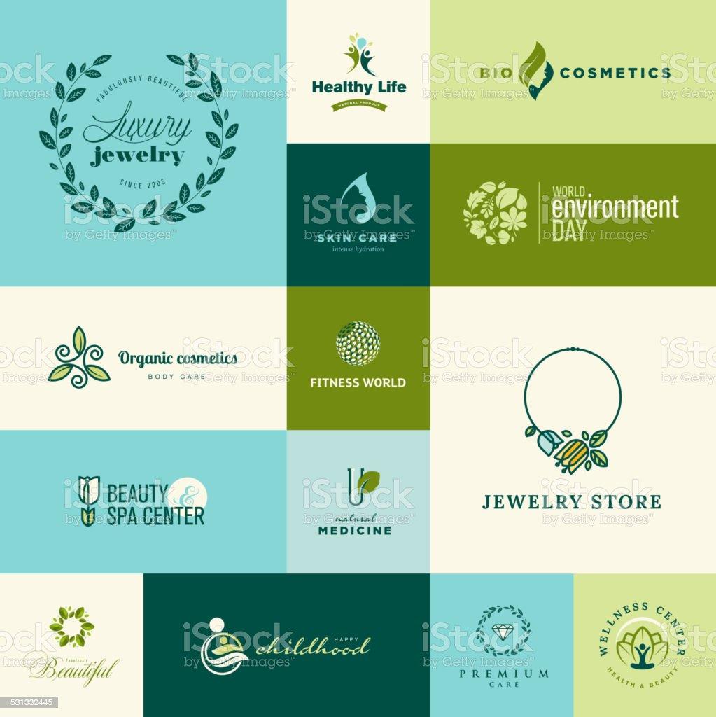 Conjunto de moderno diseño plano Iconos de belleza de la naturaleza y illustracion libre de derechos libre de derechos