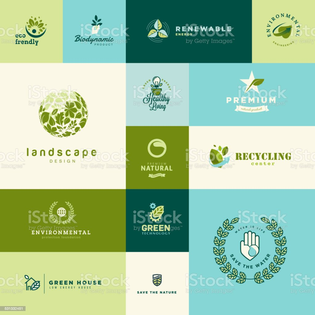 Set of modern flat design nature and technology icons vector art illustration