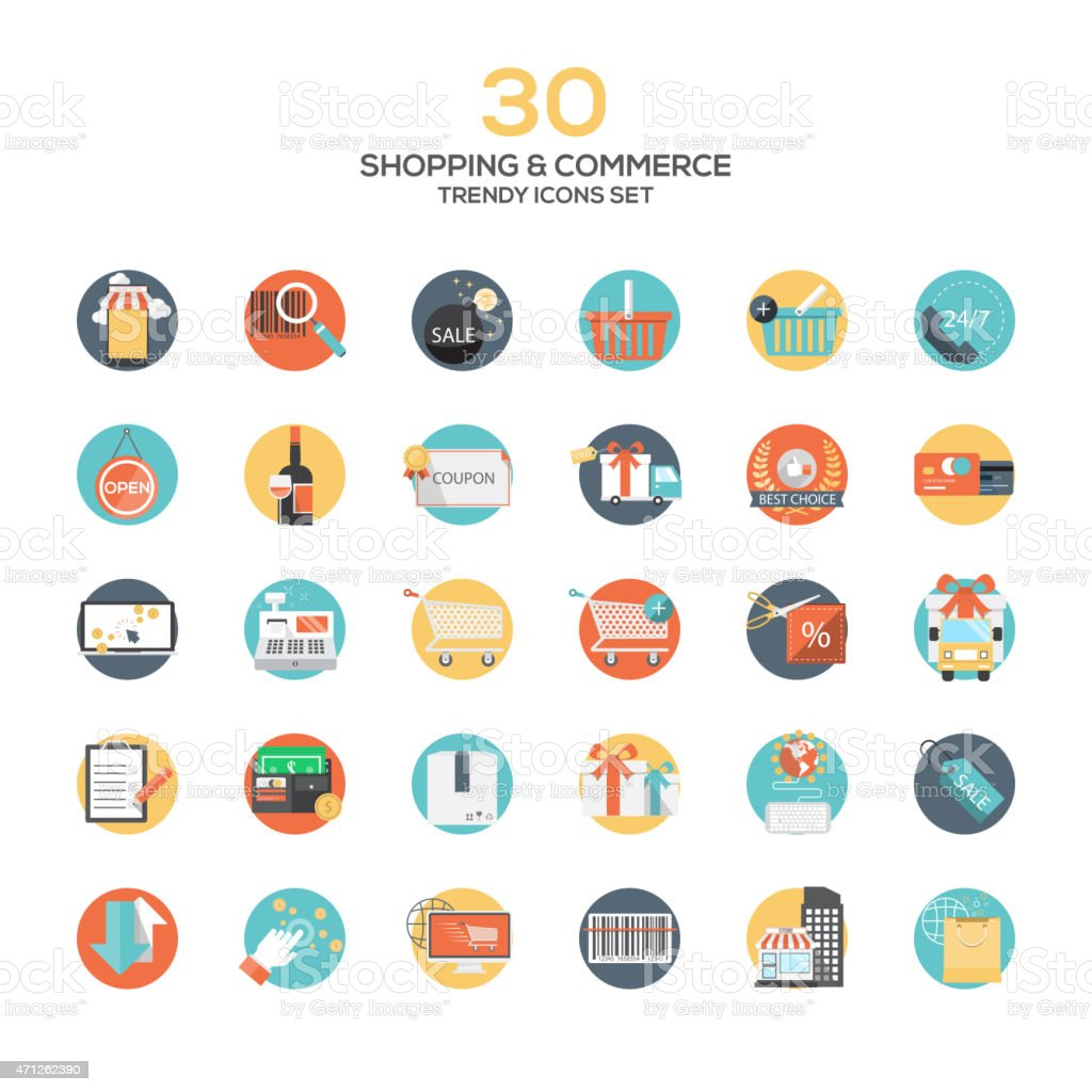Set of modern flat design Shopping and commerce icons vector art illustration