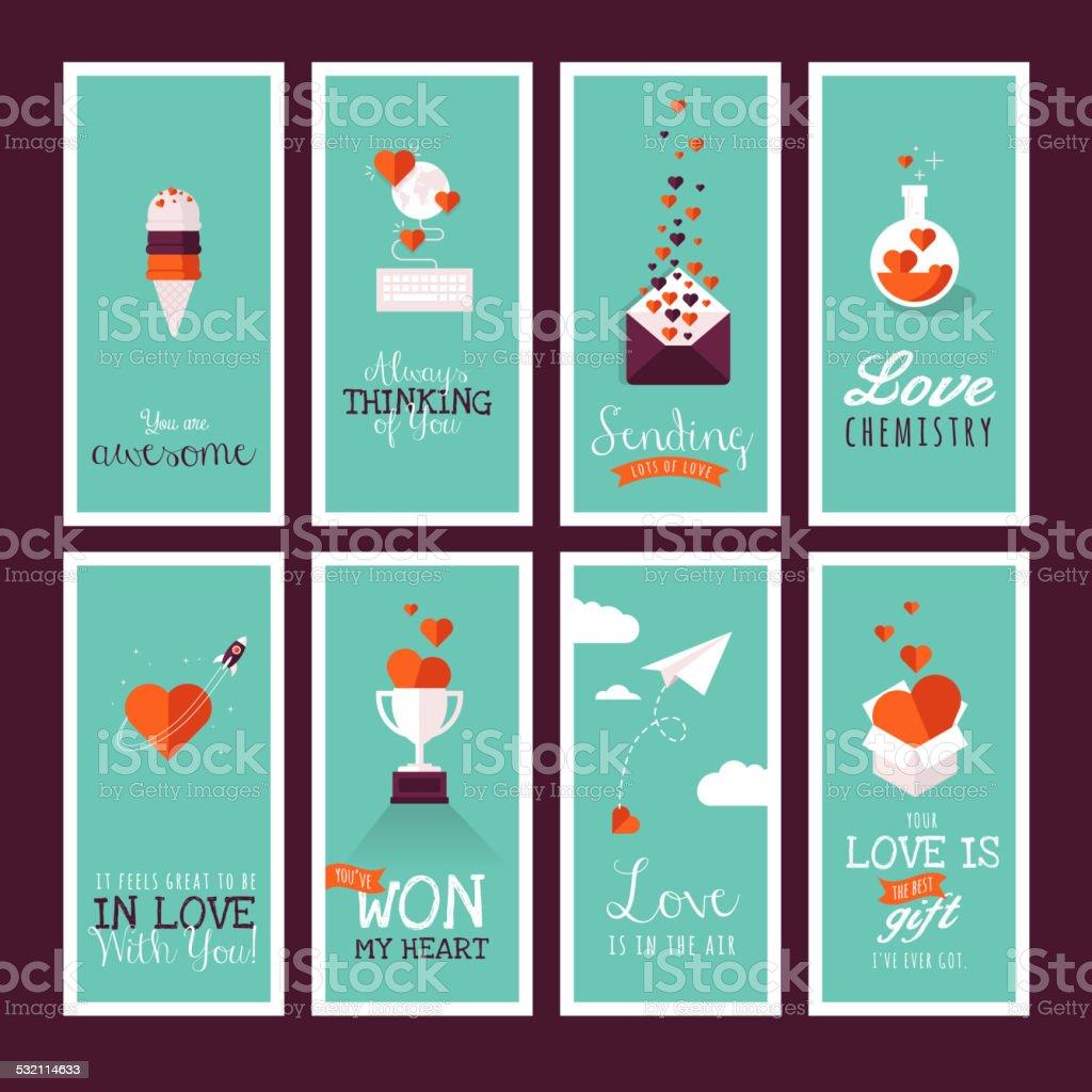Moderno diseño plano conjunto de tarjetas de felicitación de San Valentín illustracion libre de derechos libre de derechos
