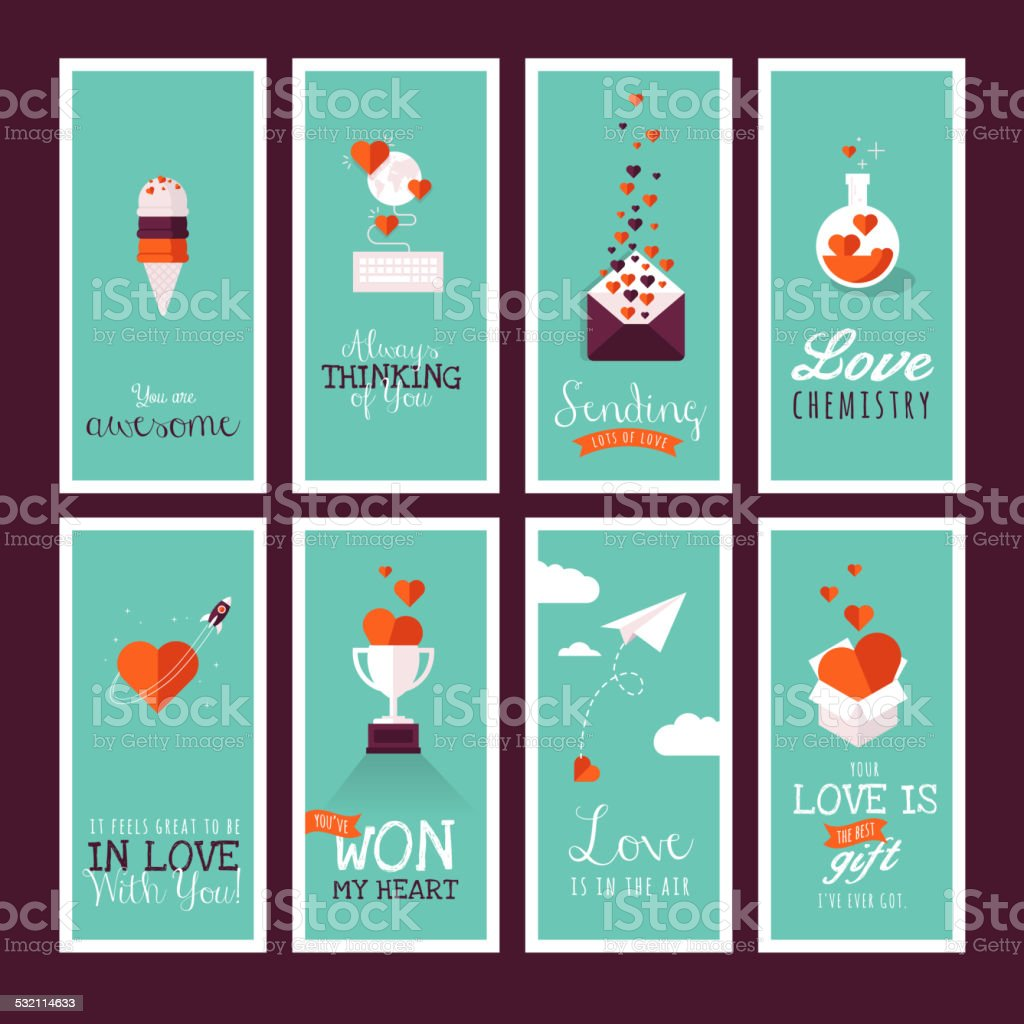 Set of modern flat design Valentines day greeting cards vector art illustration