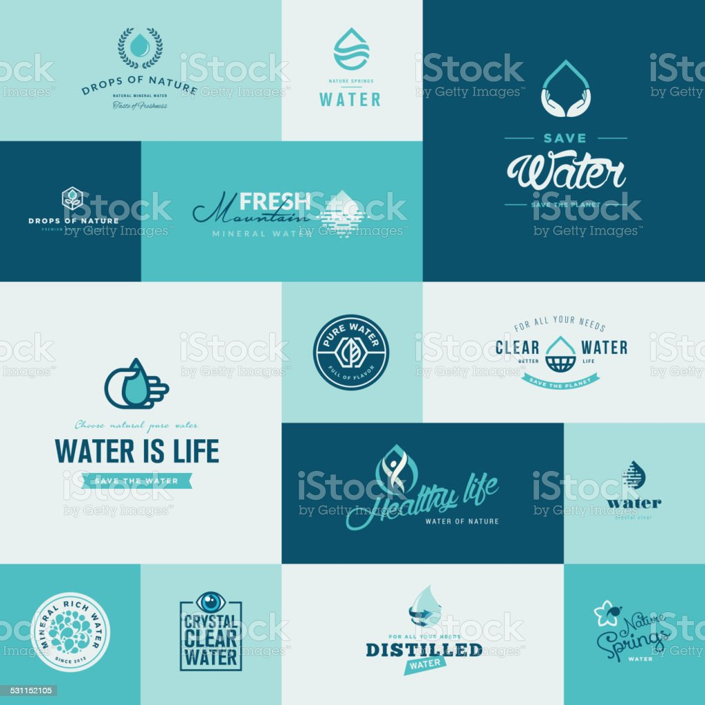 Set of modern flat design water and nature icons vector art illustration