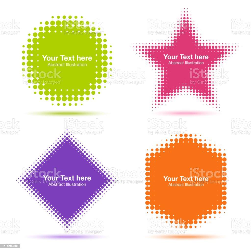 Set of Modern Flat Halftone Design Elements vector art illustration