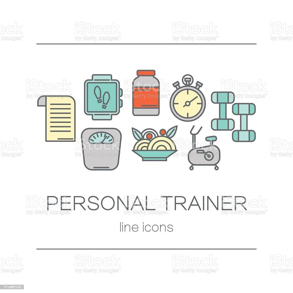 Set of modern flat line icons sports equipment, gym training vector art illustration