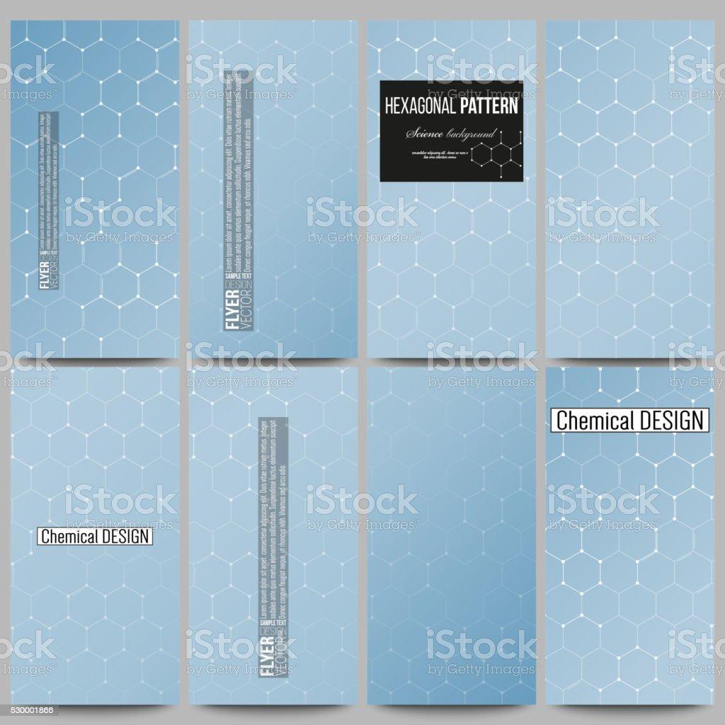 Set of modern flyers. Chemistry pattern, hexagonal design vector illustration vector art illustration
